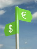 Dollar and Euro. Signpost with dollar and euro symbols Stock Photography