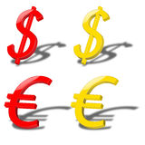 Dollar and euro Royalty Free Stock Photos