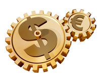 The Dollar and the Euro. Illustration of two gears showing a relationship and influence of the dollar on the euro stock illustration