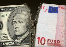 Dollar-Euro. Illustration of Two banknotes connected zipper Royalty Free Stock Image