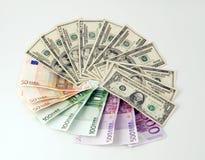 Dollar Euro Stockbild