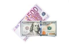 100 dollar, euro 500 Arkivfoto