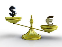 Dollar and euro balance concept Stock Photography