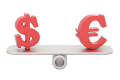 Dollar or Euro, balance concept. 3D rendering. Isolated on white background Stock Photography
