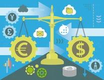 Dollar and Euro in balance stock illustration