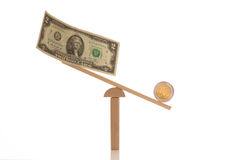 Dollar and euro on a balance, dollar weighs less Royalty Free Stock Photography