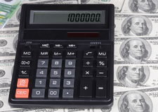 Dollar, euro banknote and calculator Royalty Free Stock Images