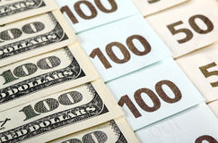 Dollar and euro banknotes Royalty Free Stock Images