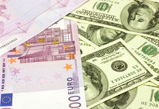 Dollar and euro banknotes Royalty Free Stock Image