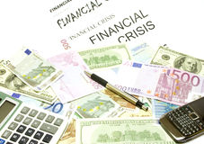 Dollar, euro banknotes, calculator, pen, cellphone Stock Image