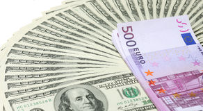 Dollar and euro banknotes Stock Photo