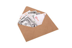 Dollar and Euro Banknotes inside Envelope Stock Photo