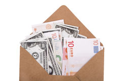 Dollar and Euro Banknotes inside Envelope Stock Image