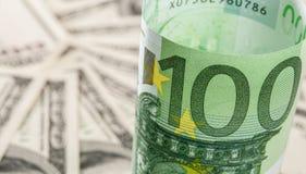 Dollar and euro banknotes Stock Image