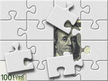 Dollar and euro banknotes under puzzle map Royalty Free Stock Images