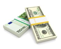 Dollar and Euro. Bill stack on a white background. 3d image Royalty Free Stock Image