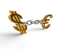 Dollar and Euro Chained Stock Image