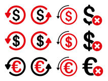 Dollar And Euro Chargeback Flat Vector Icon Set Royalty Free Stock Photography