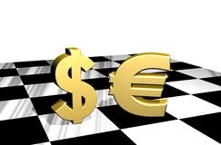 Dollar and Euro Chessboard. A Contest Between Dollar and Euro on a Symbolic CHessboard Royalty Free Stock Photography