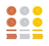 Dollar and Euro coin cent sign icon collection. Dollar and Euro coin cent sign icon flat design money symbol illustration collection set Stock Images