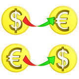 Dollar and euro coin exchange vector Stock Photos