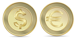 Dollar and euro coins Stock Images