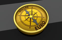 Dollar and euro compass Stock Images