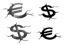 Dollar and euro cracked symbols Royalty Free Stock Image
