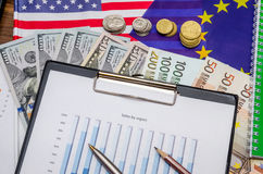Dollar, Euro currency and flag with coin, notepad Royalty Free Stock Photography