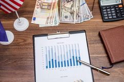 Dollar, Euro currency and flag with coin, notepad Stock Photo