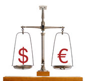 Dollar Euro currency scale Royalty Free Stock Photo