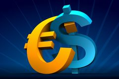 Dollar and Euro embrace Stock Photography