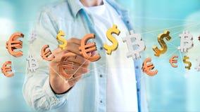 Dollar, Euro en Bitcoin-tekens die rond een netwerkconnectio vliegen Royalty-vrije Stock Foto's