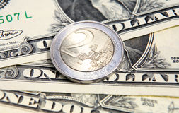 Dollar euro exchange rate  Stock Images