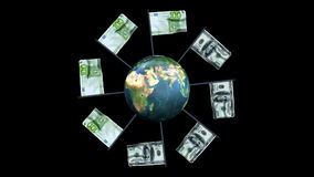 Dollar and Euro Flag Rotating Waving with Earth, Loop v2, Alpha, stock footage. Video stock video footage