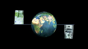 Dollar and Euro Flag Waving with Earth Rotating, Loop, Alpha, stock footage. Video stock footage