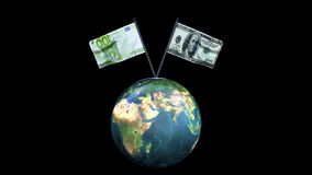 Dollar and Euro Flag Waving with Earth Rotating, Seamless Loop, Alpha, stock footage. Video stock video