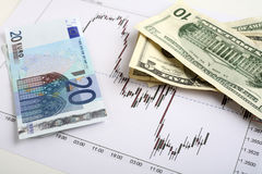 Dollar-euro forex trading Royalty Free Stock Photos
