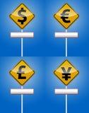 Dollar, Euro - Geldverkehrsbrett Stockfoto