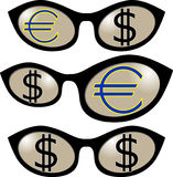 Dollar and euro in Glasses Stock Photography