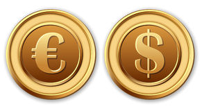 Dollar and euro, golden coins. Royalty Free Stock Photo