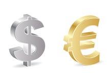 Dollar and euro icon Stock Photos