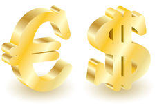 Dollar and euro money 3d symbols. Royalty Free Stock Photo
