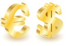 Dollar and euro money 3d symbols. Royalty Free Stock Photo