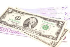 Dollar and euro money Royalty Free Stock Images