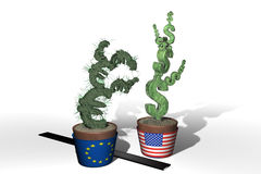Dollar and Euro money plants. Illustrated money plants in the shape of the euro and the dollar.  White background with a ruler nearby Royalty Free Stock Photography