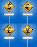 Dollar, Euro - Money traffic board. Dollar, Euro, Font and Yen traffic board with reflection Stock Photo
