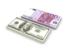Dollar and Euro Notes Stock Image