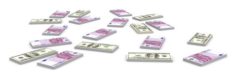 Dollar and Euro Notes Stock Images