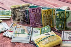 Dollar and euro notes  for background. As business concept Royalty Free Stock Images
